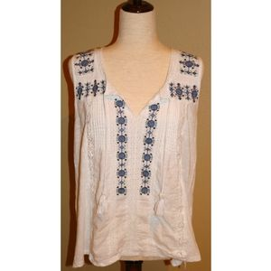 Womens Lucky Brand White sleeveless top Large